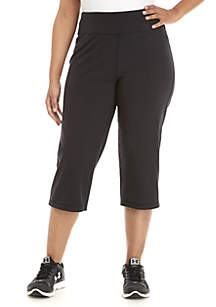 ZELOS Plus Size Solid Cotton Capri Pants