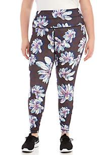 Plus Size Allover Floral Print Leggings