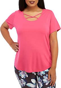 ZELOS Plus Size Cross Fit Short Sleeve T-Shirt