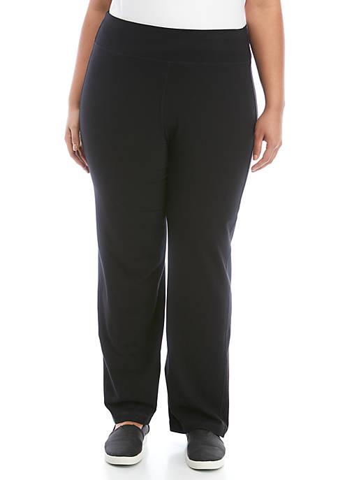 ZELOS Plus Size Solid Cotton Pants
