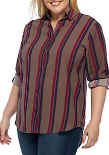 Plus Size Long Sleeve Woven Shirt