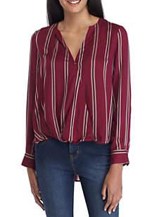 Stripe Surplice Long Sleeve Woven Top