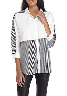 Pieced Poplin Stripe Top