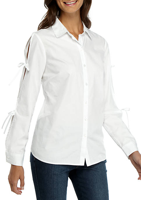Madison Tie Sleeve Poplin Shirt