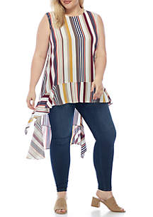 Plus Size Short Sleeve High Low Top