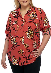 Plus Size Button Front Shirt