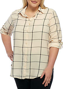 Plus Size Two Pocket Woven Blouse