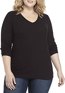 Madison Plus Size Ribbed V-Neck Long Sleeve Top
