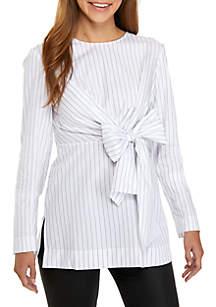 Stripe Tie Front Poplin Tunic
