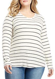 Madison Plus Size Long Sleeve V-Neck Ribbed Top
