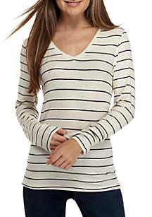 Madison V-Neck Knit Stripe Top