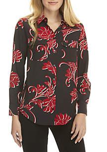 Madison 2-Pocket Button Floral Shirt