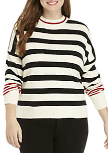 Plus Size Striped RIb Knit Sweater