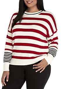 Plus Size Striped RIb Knit Sweater