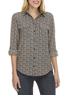 Woven Top with Pockets