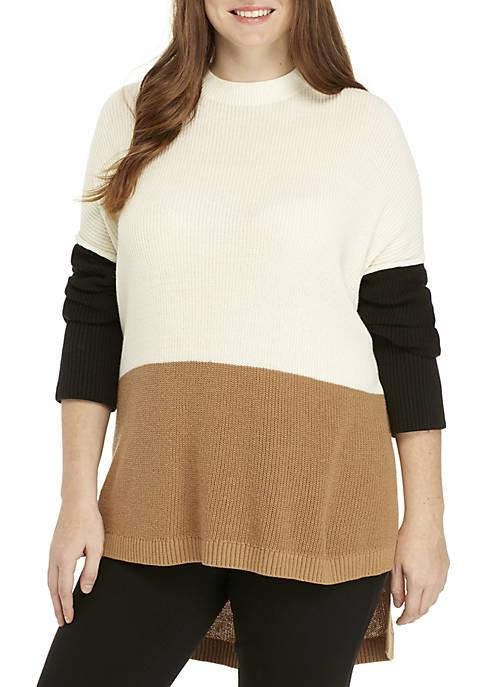 Plus Size Colorblock Sweater