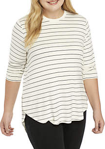 Plus Size 3/4 Sleeve Tee with Side-Slits