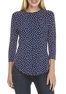 3/4 Sleeve Polka Dot Top with Side Splits