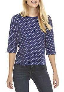 2Fer Stripe High Low Sweatshirt