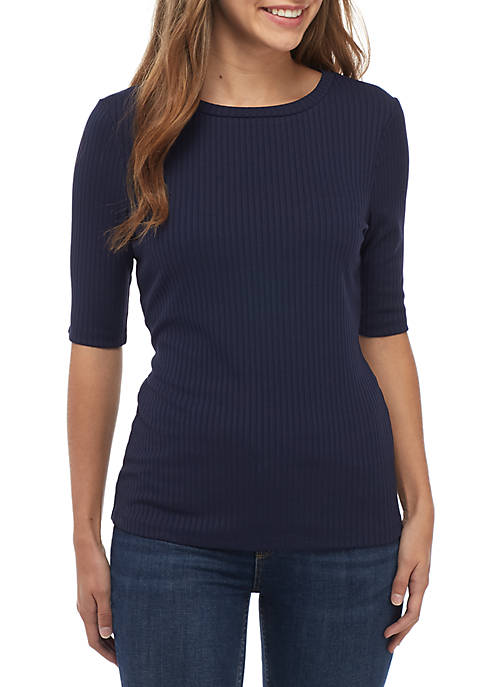 Madison Elbow Sleeve RIb Knit Top