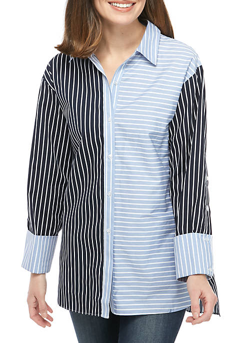 Madison 2 Tone Stripe Button Front Tunic