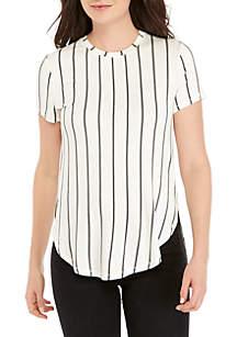 Madison Plus Size Stripe Side Slit Tee