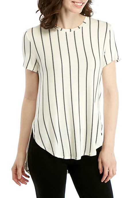 Stripe Asymmetrical T Shirt