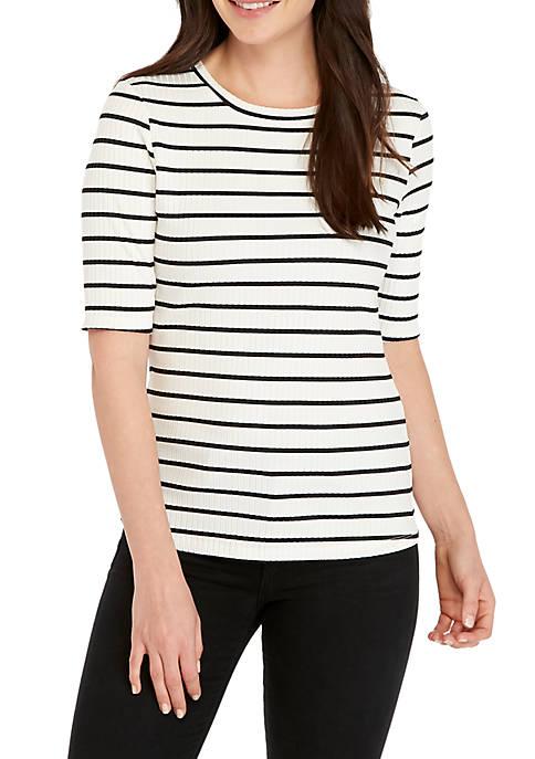 Madison Elbow Sleeve Stripe Rib Tee