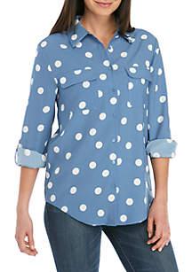 Madison Polka Dot Long Sleeve 2 Pocket Top
