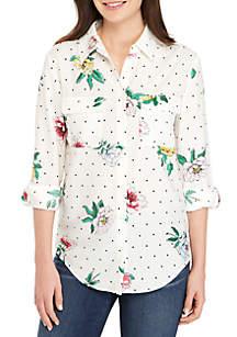 Madison Long Sleeve 2-Pocket Dot Floral Top