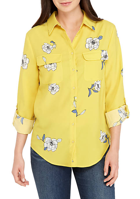Madison Long Sleeve 2-Pocket Floral Top