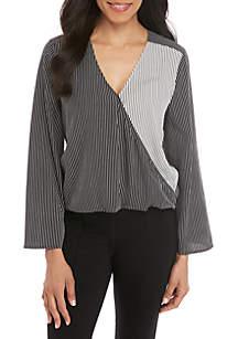 Madison Mixed Stripe Long Sleeve Wrap Top