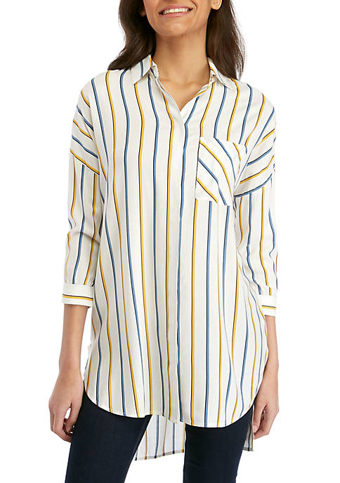 Madison 3/4 Sleeve Striped Oversized Top