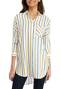Madison 3/4 Sleeve Striped Oversized Top