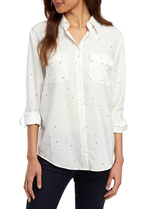 Madison Button Front Woven Top
