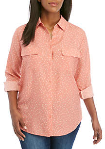 Madison Plus Size Button Front Woven Dot Print Top