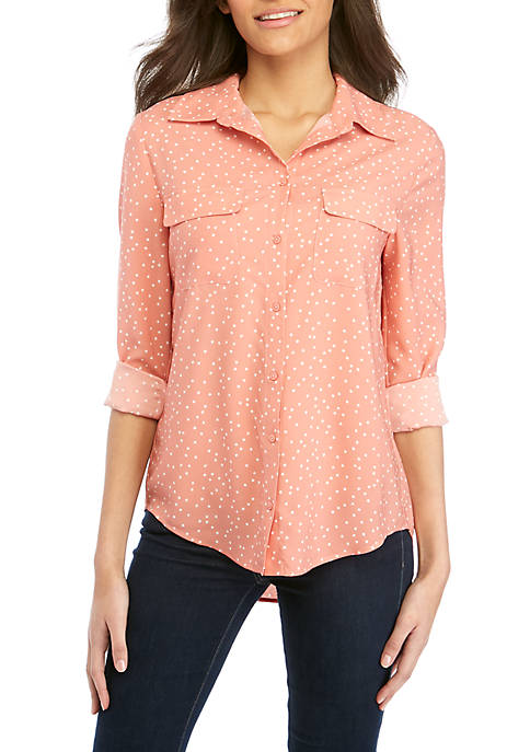 Button Front Woven Dot Print Top
