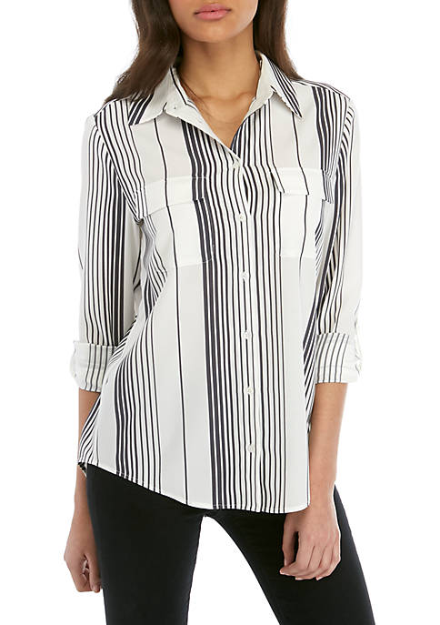 Madison Button Front Woven Blouse