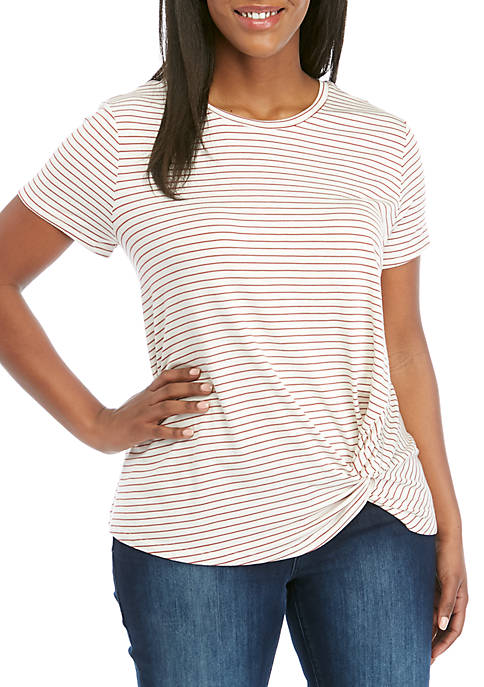 Plus Size Stripe Knot Front Tee