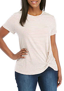 Madison Plus Size Stripe Knot Front Tee