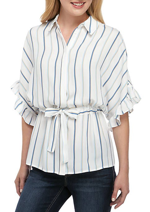 Madison Stripe Belted Ruffle Sleeve Top