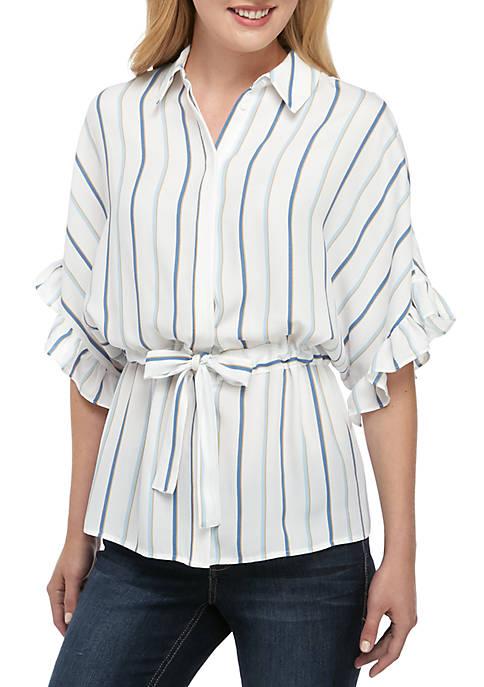 Stripe Belted Ruffle Sleeve Top