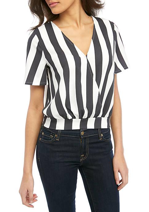 Madison Dolman Sleeve Stripe Surplice Top