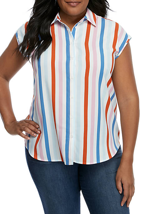 Madison Plus Size Stripe Sleeveless Button Front Blouse