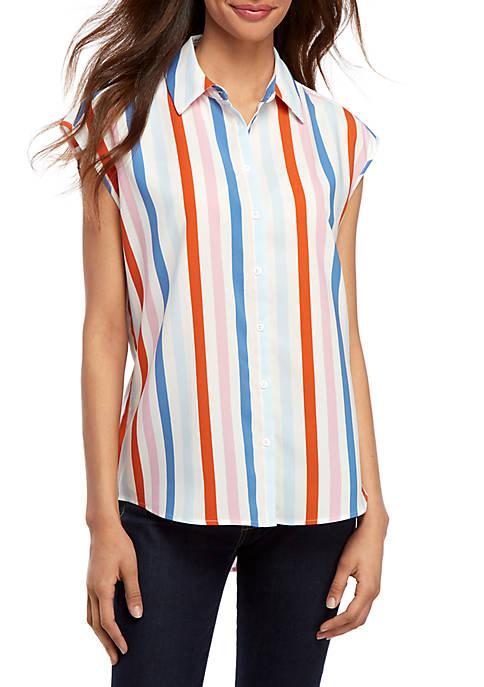 Madison Stripe Sleeveless Button Front Blouse