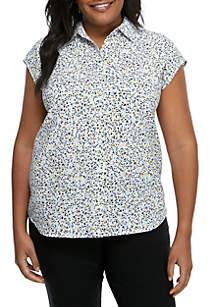 Madison Plus Size Confetti Sleeveless Button Front Blouse