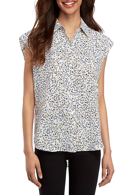 Madison Confetti Sleeveless Button Front Blouse