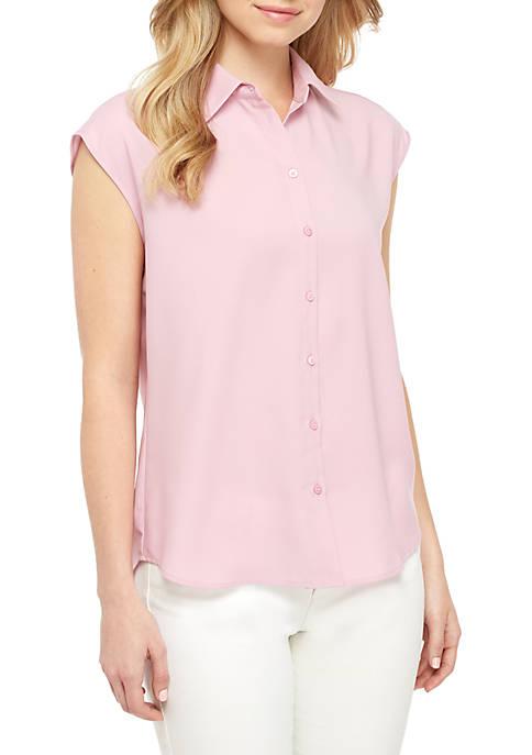 Madison Sleeveless Button Front Shirt