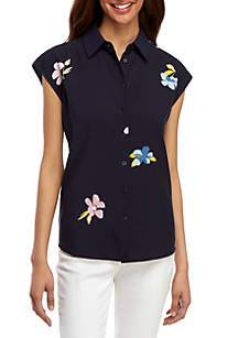 Madison Floral Sleeveless Button Front Blouse