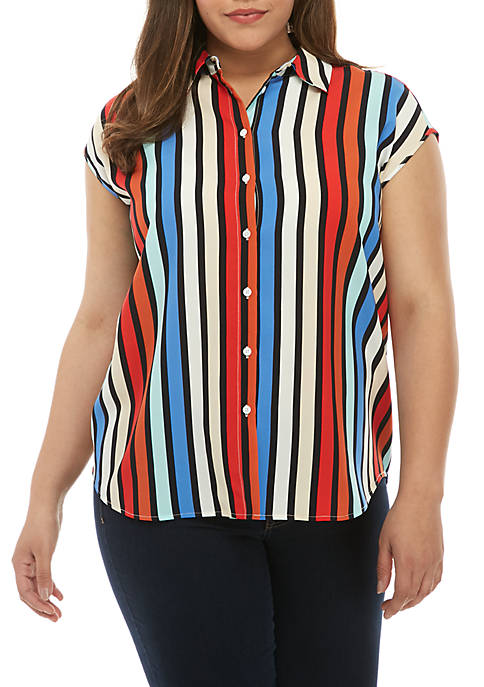 Madison Plus Size Multi Stripe Sleeveless Stylish Shirt
